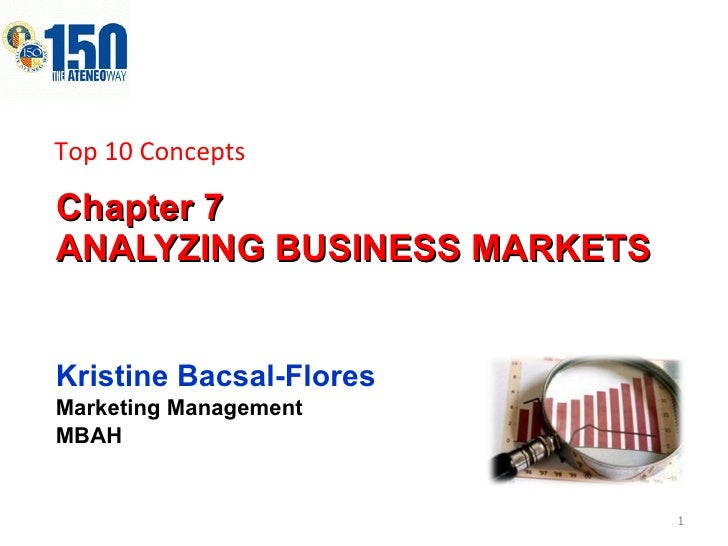 Chapter 7  ANALYZING BUSINESS MARKETS Kristine Bacsal-Flores Marketing Management MBAH Top 10 Concepts