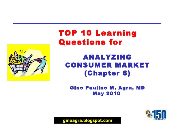 TOP 10 Learning Questions for ANALYZING CONSUMER MARKET (Chapter 6) Gino Paulino M. Agra, MD May 2010