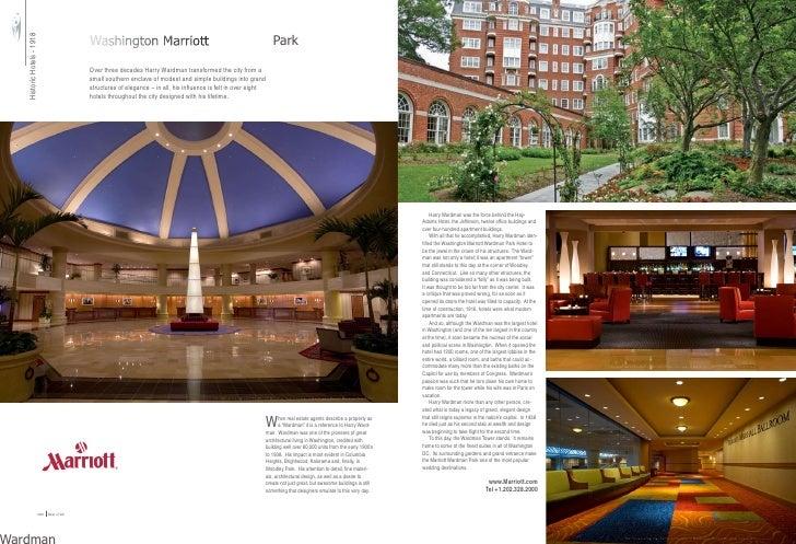Washington Marriott Wardman Park Historic Hotels - 1918                                                Over three decades ...