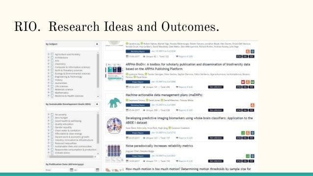 RIO. Research Ideas and Outcomes.