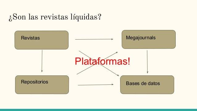 ¿Son las revistas líquidas? Revistas Bases de datos Megajournals Repositorios Plataformas!
