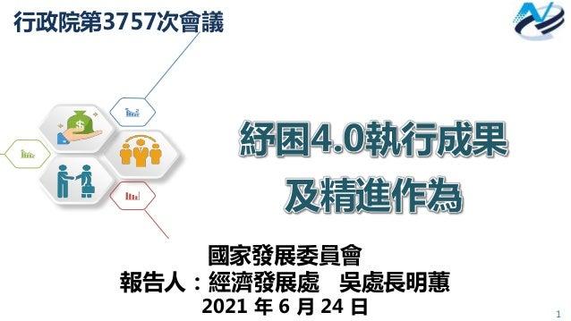 1 行政院第3757次會議 紓困4.0執行成果 及精進作為 國家發展委員會 報告人:經濟發展處 吳處長明蕙 2021 年 6 月 24 日