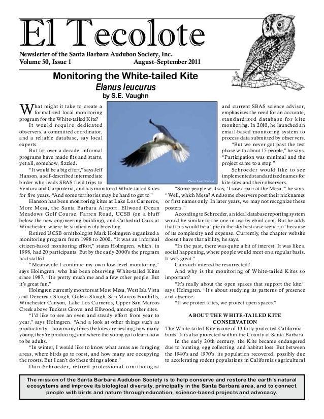 El TecoloteNewsletter of the Santa Barbara Audubon Society, Inc. Volume 50, Issue 1 August–September 2011 The mission ...