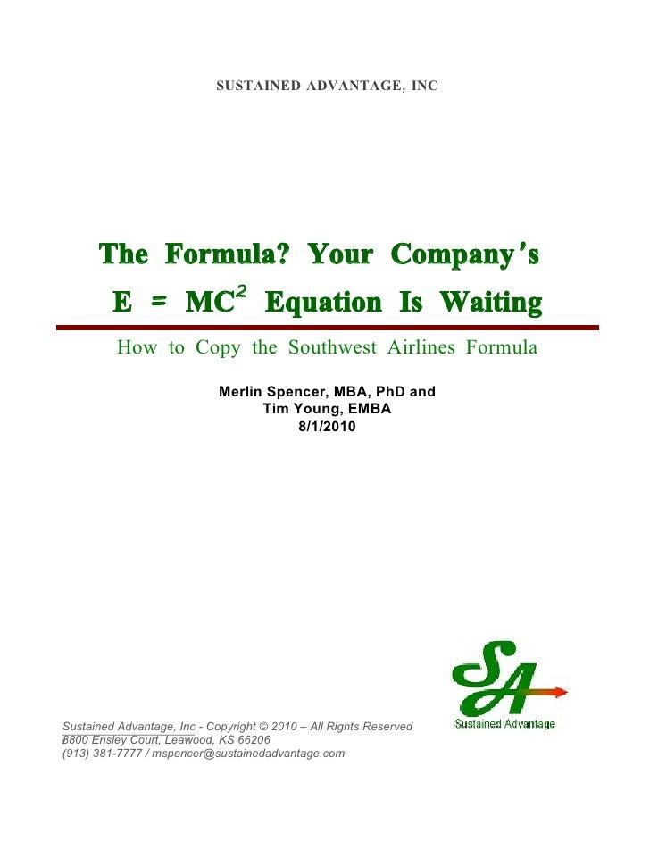 SUSTAINED ADVANTAGE, INC           The Formula? Your Company' s          E = MC                 2                         ...