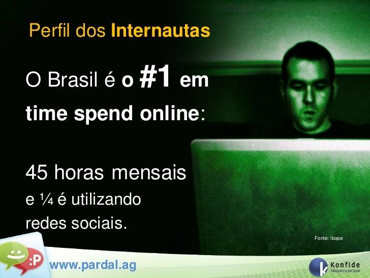 Perfil dos InternautasO Brasil é o #1 emtime spend online:45 horas mensaise ¼ é utilizandoredes sociais.                  ...