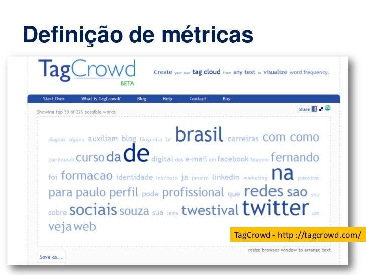 Definição de métricas                   TagCrowd - http ://tagcrowd.com/  www.pardal.ag