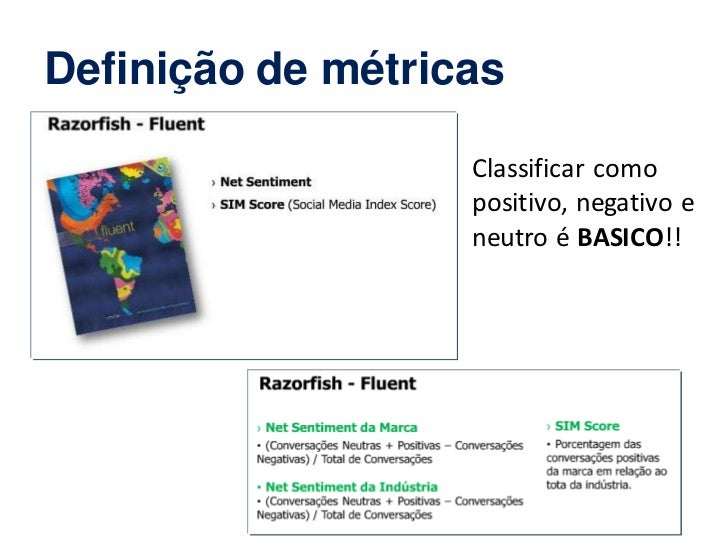 Definição de métricas                   Classificar como                   positivo, negativo e                   neutro é...