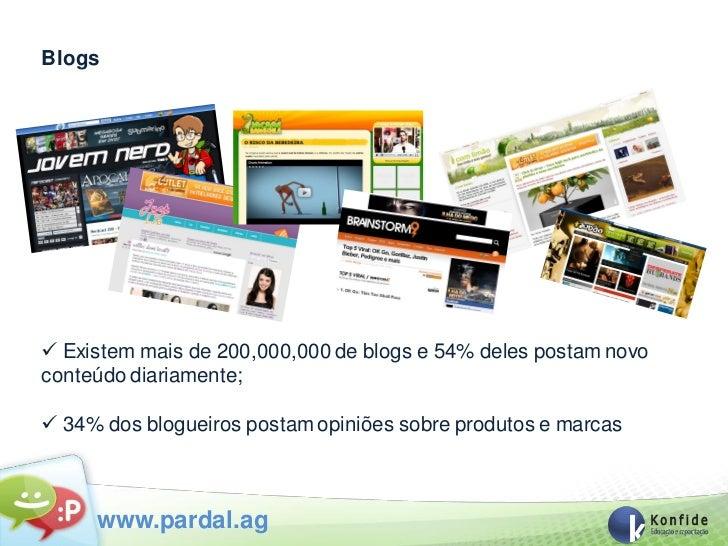 Blogs Existem mais de 200,000,000 de blogs e 54% deles postam novoconteúdo diariamente; 34% dos blogueiros postam opiniõ...