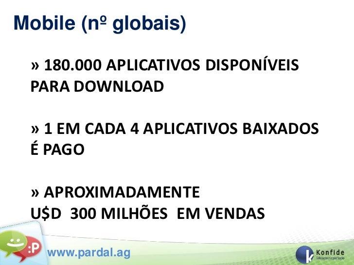 Mobile (nº globais) » 180.000 APLICATIVOS DISPONÍVEIS PARA DOWNLOAD » 1 EM CADA 4 APLICATIVOS BAIXADOS É PAGO » APROXIMADA...