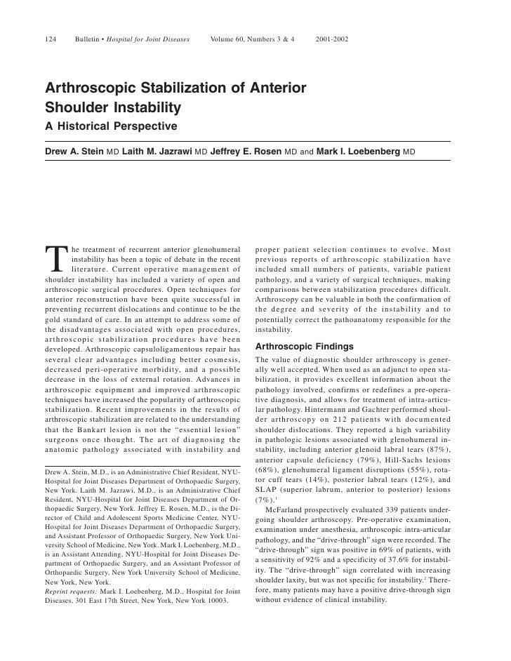 124      Bulletin • Hospital for Joint Diseases      Volume 60, Numbers 3 & 4        2001-2002     Arthroscopic Stabilizat...