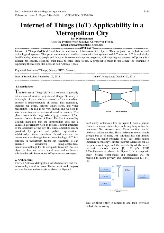 Int. J. Advanced Networking and Applications Volume: 6 Issue: 5 Pages: 2484-2486 (2015) ISSN: 0975-0290 2484 Internet of T...