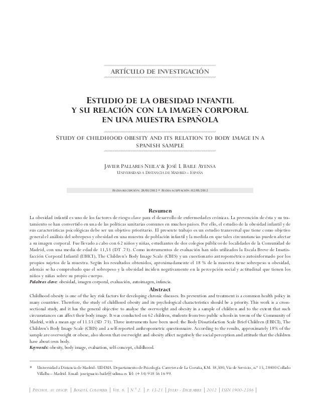 ARTÍCULO DE INVESTIGACIÓN Estudio de la obesidad infantil y su relación con la imagen corporal en una muestra española Stu...