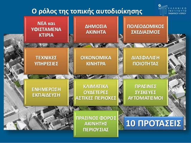 Ο ρόλος της τοπικής αυτοδιοίκησης  10 ΠΡΟΤΑΣΕΙΣ  ΝΕΑ και  ΥΦΙΣΤΑΜΕΝΑ  ΚΤΙΡΙΑ  ΔΗΜΟΣΙΑ  ΑΚΙΝΗΤΑ  ΠΟΛΕΟΔΟΜΙΚΟΣ  ΣΧΕΔΙΑΣΜΟΣ  ...