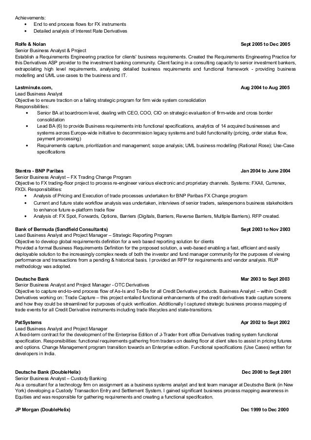 Banking Business Analyst Resume Sarahepps Com