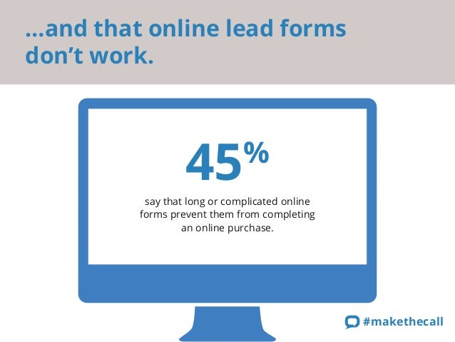 …and that online lead forms  don't work.  45%  say that long or complicated online  forms prevent them from completing  an...
