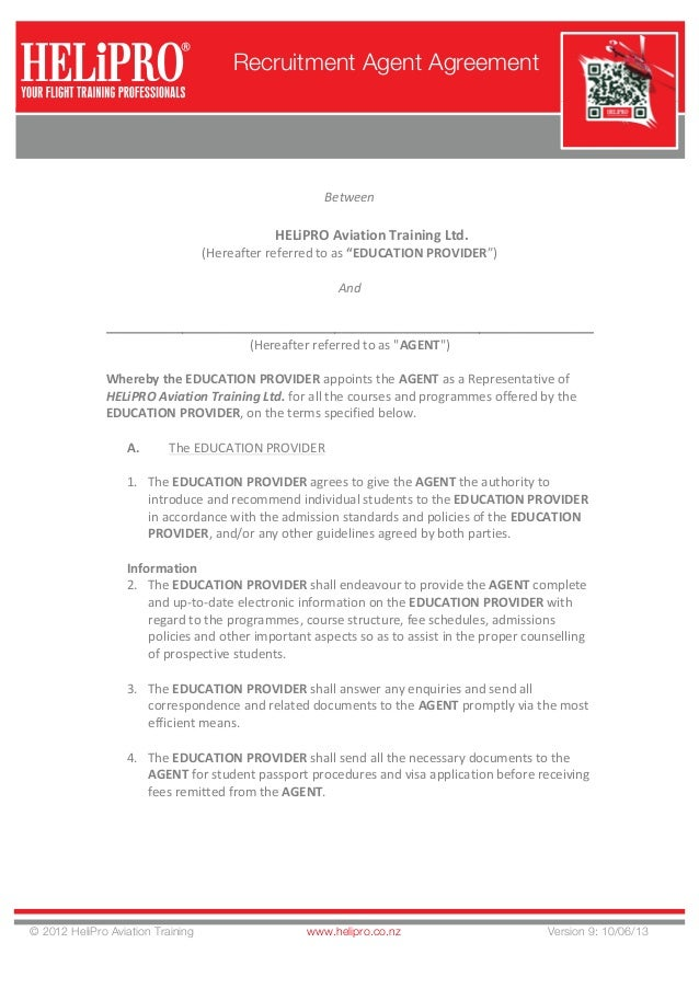 Helipro Aviation Training V9 Hat Recruitment Agent Agreement