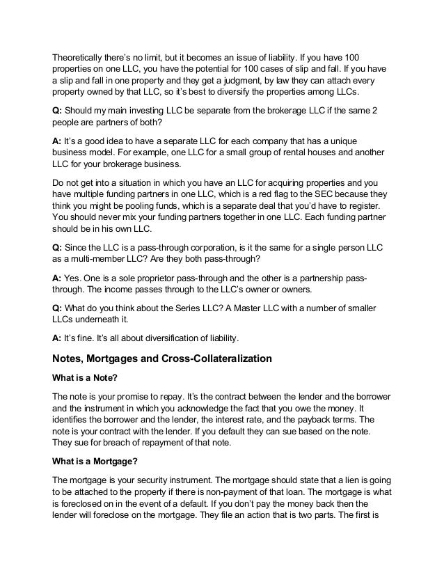 Notes, Mortgages, Operating Agreements, and Corporate Structure Q & A…