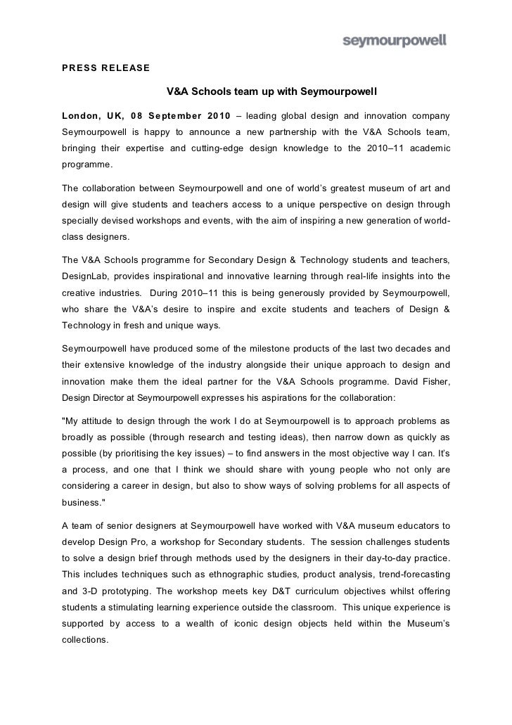PRESS RELEASE                          V&A Schools team up with SeymourpowellLondon, UK, 08 September 2010 – leading globa...