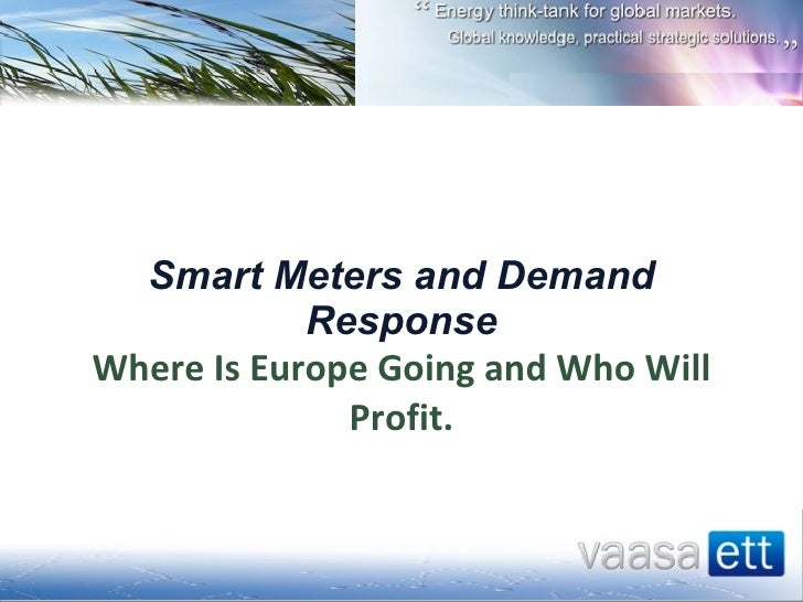Smart Meters and Demand Response Where Is Europe Going and Who Will Profit.