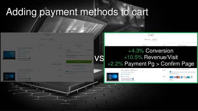 98 of Y Adding payment methods to cart vs +4.3% Conversion +10.5% Revenue/Visit +2.2% Payment Pg > Confirm Page