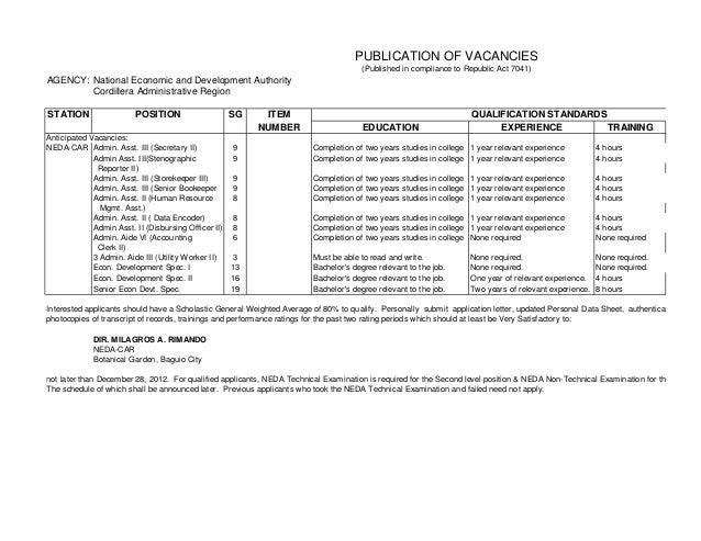 PUBLICATION OF VACANCIES                                                                                      (Published i...