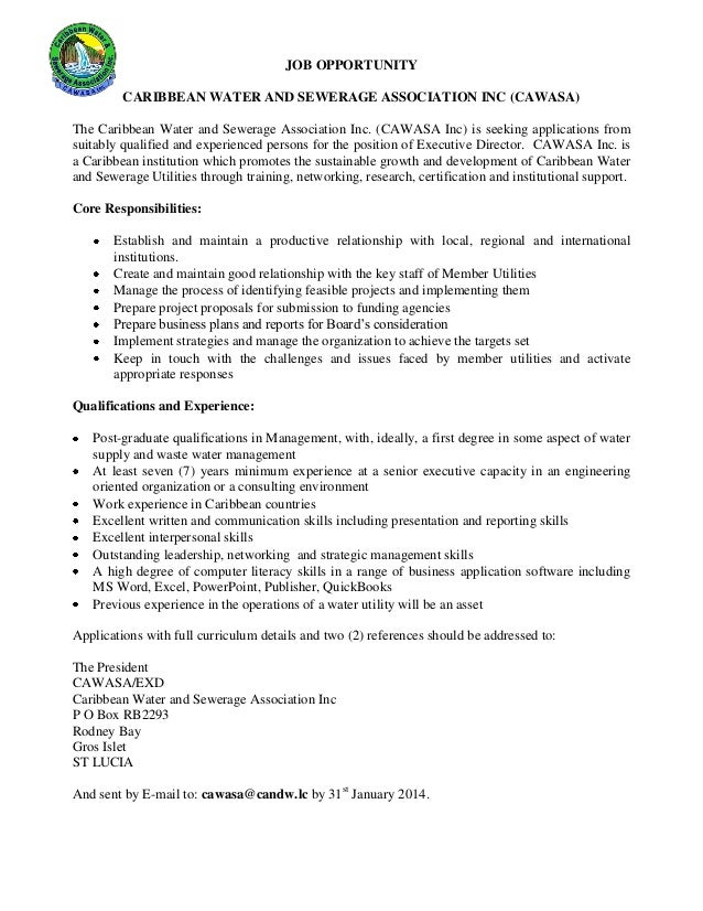Caribbean Water And Sewerage Association  Cawasa Vacancy  Executive