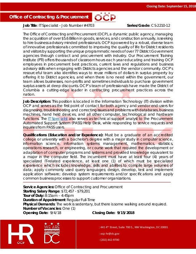 Vacancy Announcement - IT Specialist (Job ID #4703)