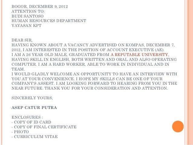Vacancy Letter