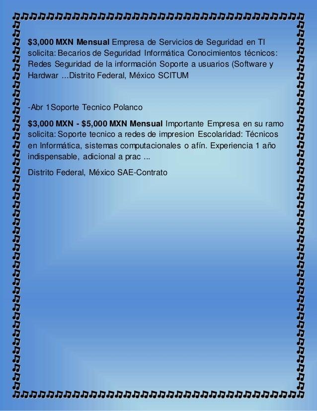 $3,000 MXN Mensual Empresa de Servicios de Seguridad en TI solicita: Becarios de Seguridad Informática Conocimientos técni...