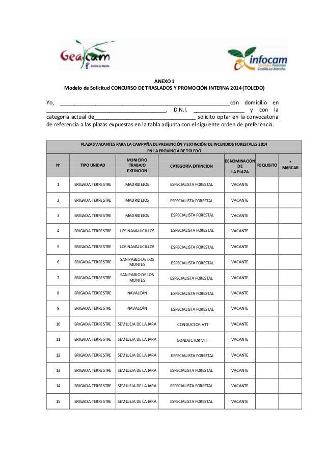 ANEXO 1 Modelo de Solicitud CONCURSO DE TRASLADOS Y PROMOCIÓN INTERNA 2014 (TOLEDO) Yo, __________________________________...