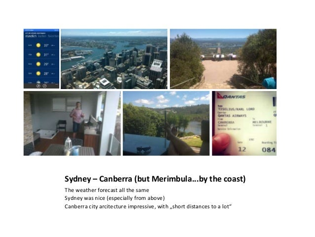 Sydney – Canberra (but Merimbula...by the coast) The weather forecast all the same Sydney was nice (especially from above)...