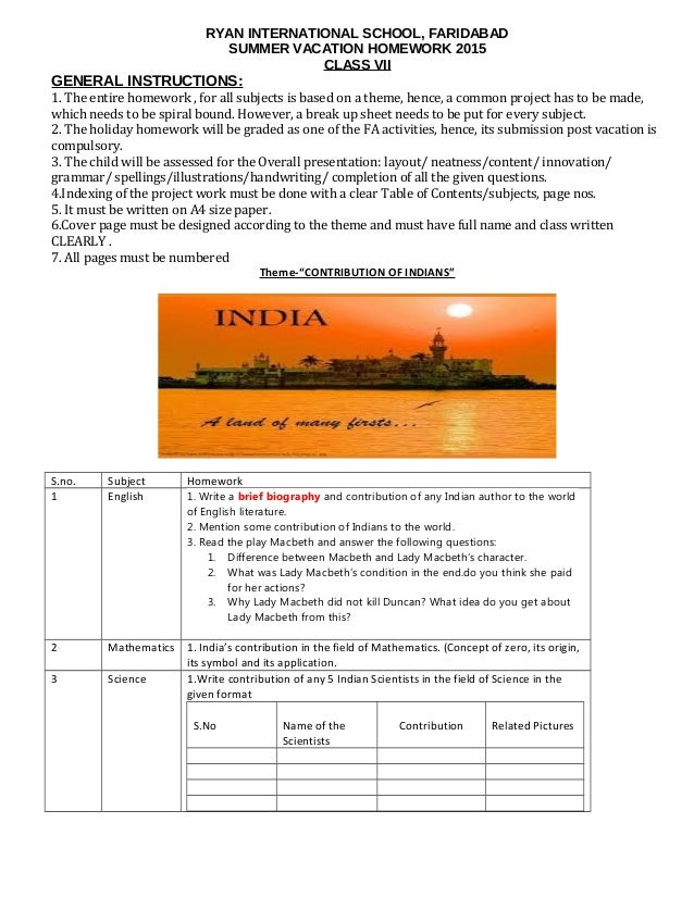 ryan international school faridabad holiday homework