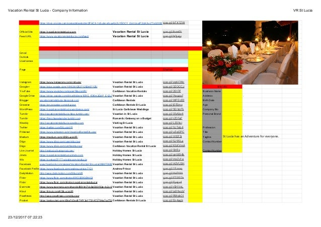 Vacation Rental St Lucia - Company Information VR St Lucia 23/12/2017 07:22:23 https://docs.google.com/spreadsheets/d/e/2P...