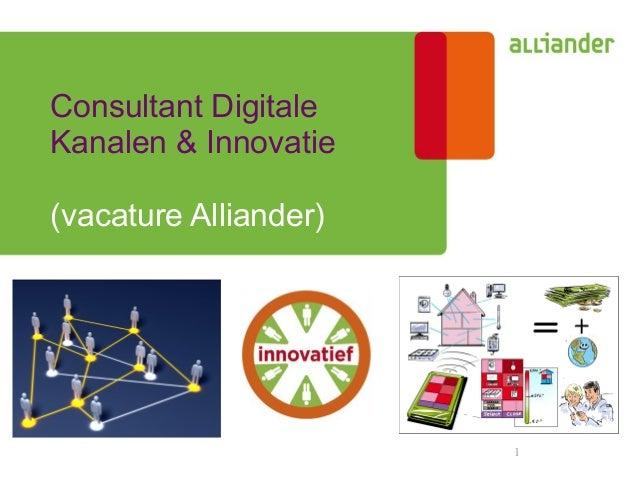 1 Consultant Digitale Kanalen & Innovatie (vacature Alliander)