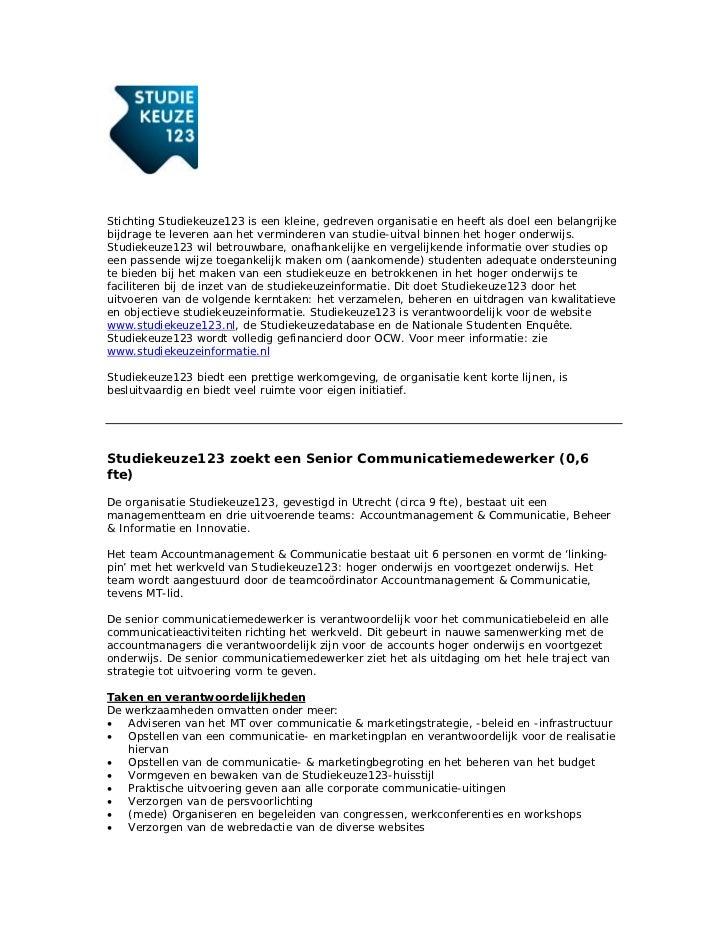 motivatiebrief communicatiemedewerker Vacature Senior Communicatiemedewerker Stichting Studiekeuze 1,2,3