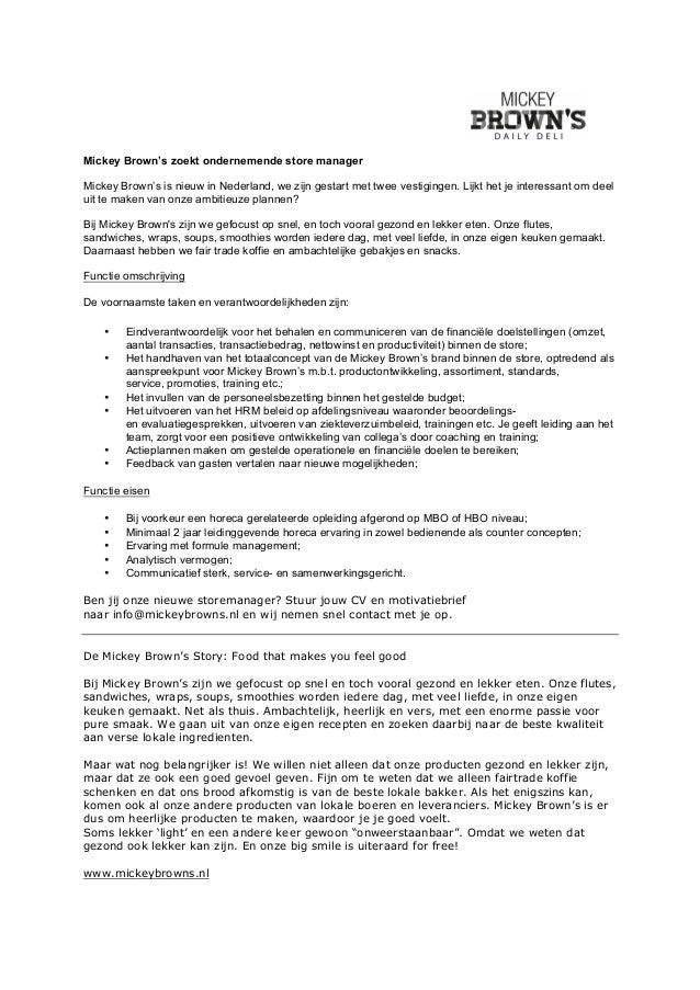 motivatiebrief assistent manager   motivatiebrief voor