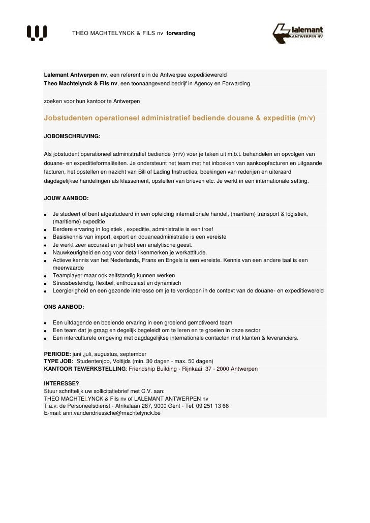 vacature studentenjob operationeel bediende douane