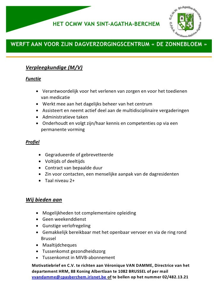 HET OCMW VAN SINT-AGATHA-BERCHEMWERFT AAN VOOR ZIJN DAGVERZORGINGSCENTRUM « DE ZONNEBLOEM »    Verpleegkundige (M/V)    Fu...