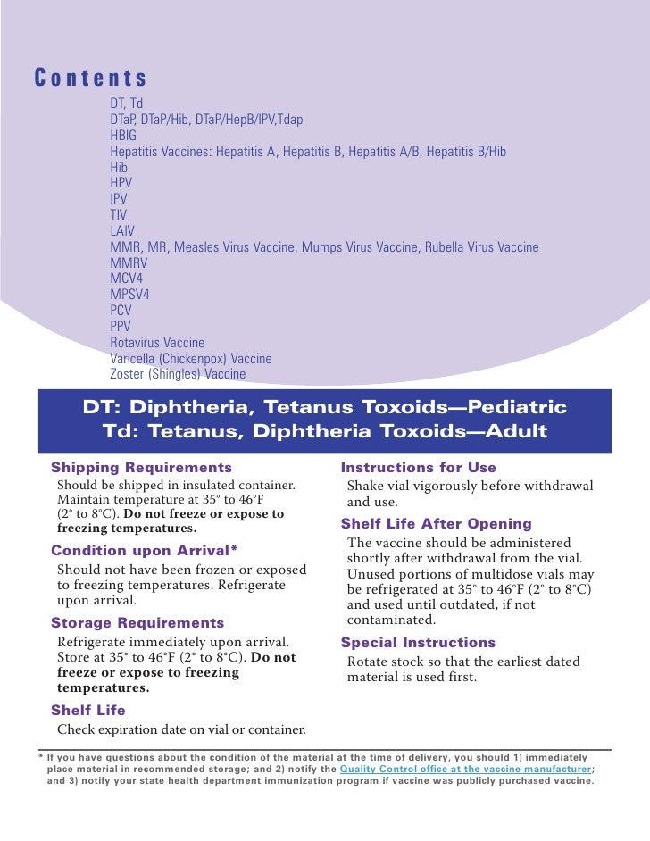 Contents               DT, Td               DTaP, DTaP/Hib, DTaP/HepB/IPV,Tdap               HBIG               Hepatitis ...