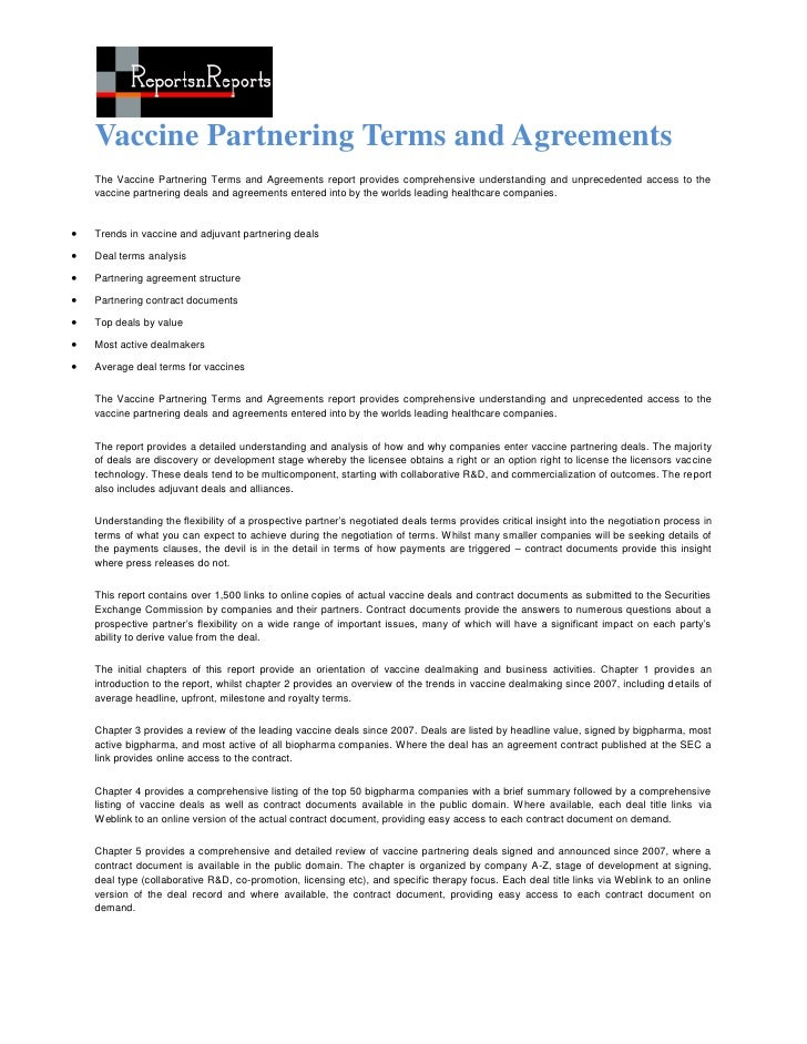 Vaccine Partnering Terms and Agreements    The Vaccine Partnering Terms and Agreements report provides comprehensive under...