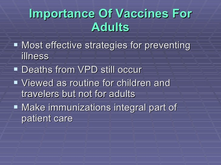 the importance of vaccinations for children Parents agree that feeding and sleeping schedules are important to help keep  children healthy the same goes for childhood vaccinations.