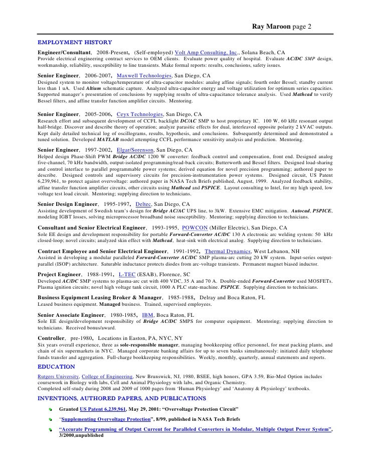 11. Ray Maroon Page 2 EMPLOYMENT HISTORY Engineer/Consultant ...
