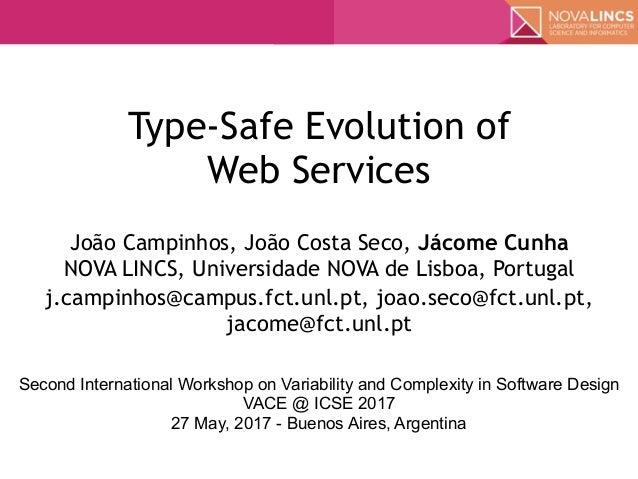 Type-Safe Evolution of  Web Services João Campinhos, João Costa Seco, Jácome Cunha NOVA LINCS, Universidade NOVA de Lisb...