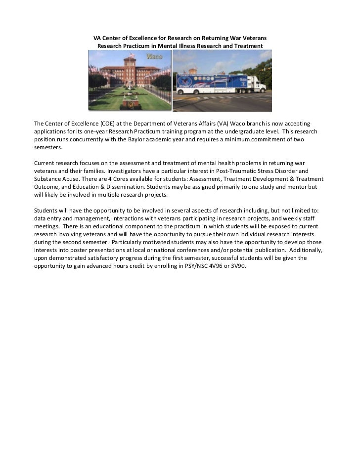 VA Center of Excellence for Research on Returning War Veterans                        Research Practicum in Mental Illness...