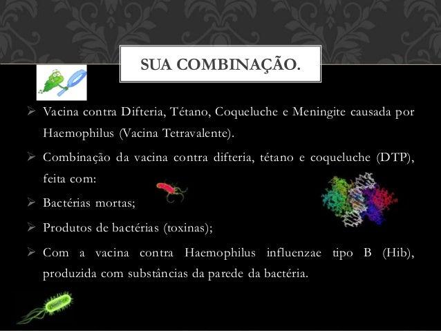  Vacina contra Difteria, Tétano, Coqueluche e Meningite causada por Haemophilus (Vacina Tetravalente).  Combinação da va...