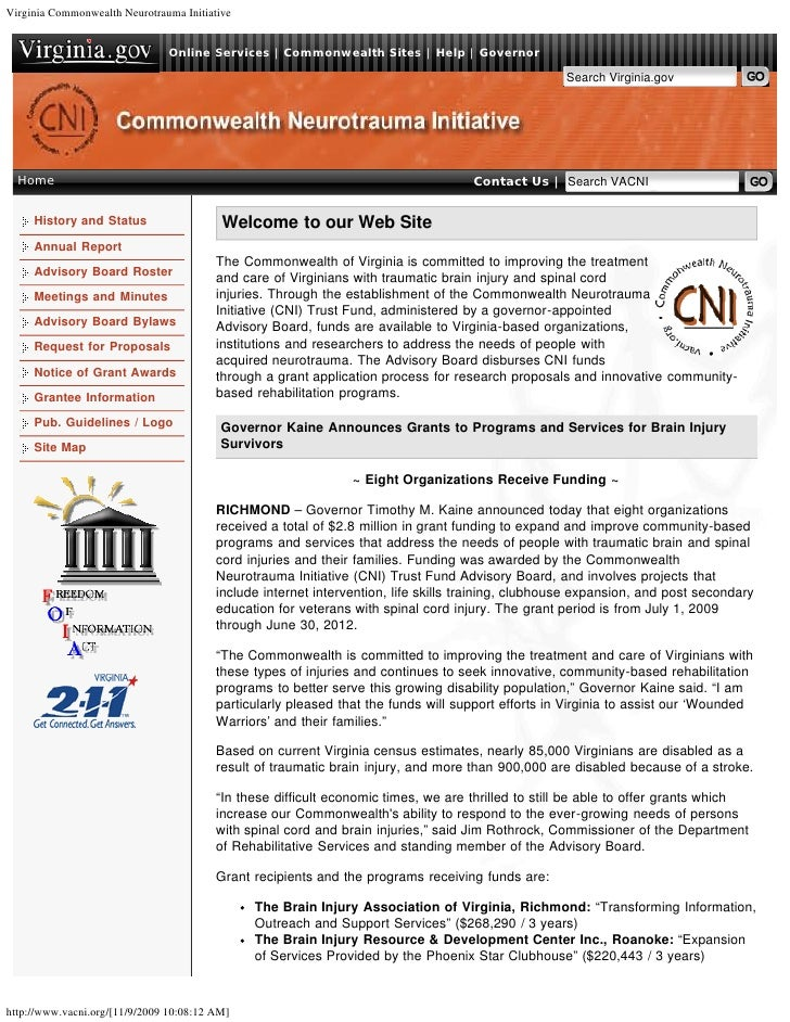 Virginia Commonwealth Neurotrauma Initiative                                  Online Services | Commonwealth Sites | Help ...