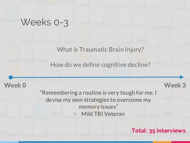 "Weeks 0-3 Week 0 Week 3 What is Traumatic Brain Injury? How do we define cognitive decline? Total: 35 interviews ""Remember..."