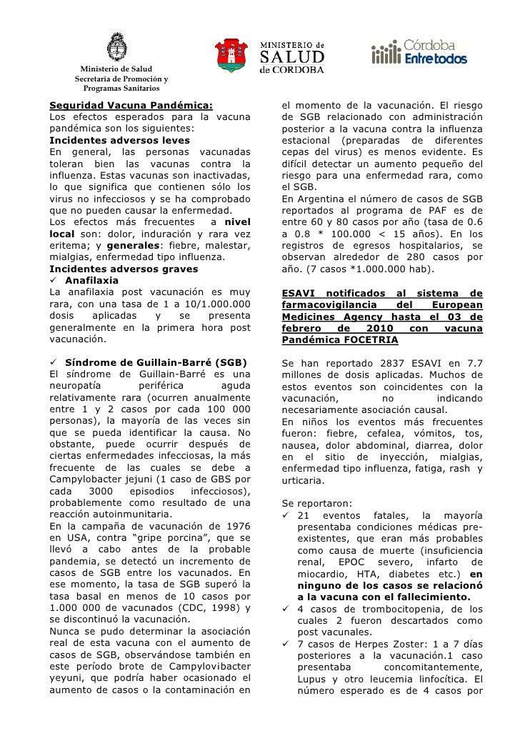 Ministerio de Salud      Secretaría de Promoción y        Programas Sanitarios  Seguridad Vacuna Pandémica:               ...