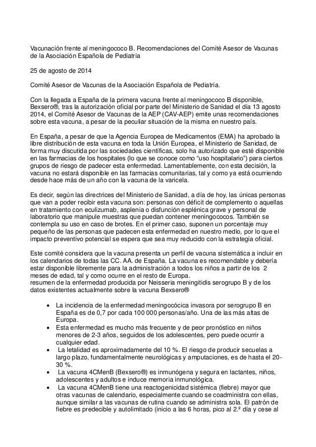 Vacunación frente al meningococo B. Recomendaciones del Comité Asesor de Vacunas de la Asociación Española de Pediatría 25...