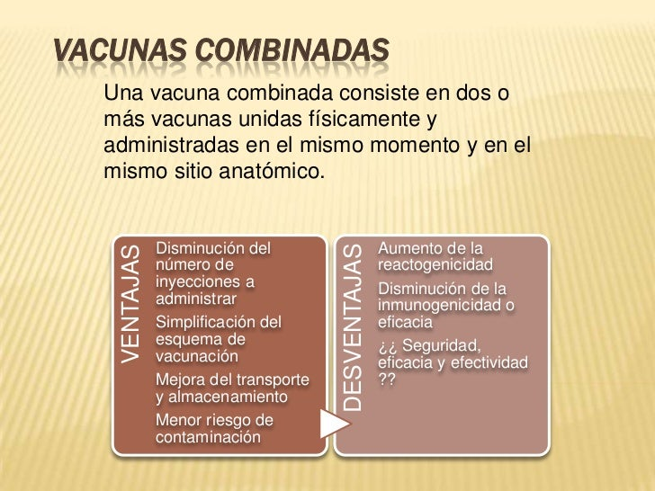 VACUNAS COMBINADAS  Una vacuna combinada consiste en dos o  más vacunas unidas físicamente y  administradas en el mismo mo...